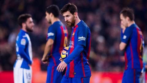Lionel Messi of FC Barcelona looks on before kicking a penalty shot and scoring his team's second goal during the La Liga match between FC Barcelona and CD Leganes