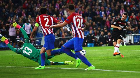 Kevin Volland of Bayer Leverkusen has a shot at goal saved by Jan Oblak of Atletico Madrid