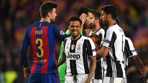 BARCELONA, SPAIN - APRIL 19: Dani Alves of Juventus looks on after the UEFA Champions League Quarter Final second leg match between FC Barcelona and Juventus at Camp Nou on April 19, 2017 in Barcelona, Spain.  (Photo by Shaun Botterill/Getty Images)