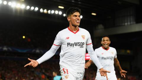 LIVERPOOL, ENGLAND - SEPTEMBER 13:  Joaquin Correa of Sevilla celebrates scoring his sides second goal during the UEFA Champions League group E match between Liverpool FC and Sevilla FC at Anfield on September 13, 2017 in Liverpool, United Kingdom.  (Photo by Stu Forster/Getty Images)
