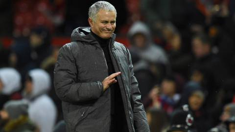Manchester United's Portuguese manager Jose Mourinho reacts as he leaves the pitch during the English Premier League football match between Manchester United and Brighton and Hove Albion at Old Trafford.