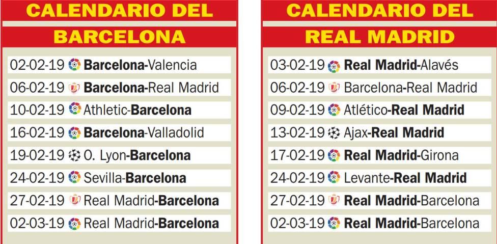 Calendario Real Madrid.Frantic February Fixture List For Both Real Madrid Barcelona As Com