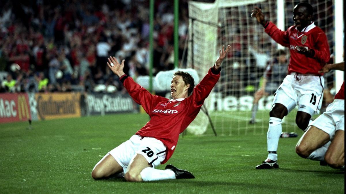 Сульшер празднует гол в ворота мюнхенской Баварии в финале Лиги чемпионов 199 года