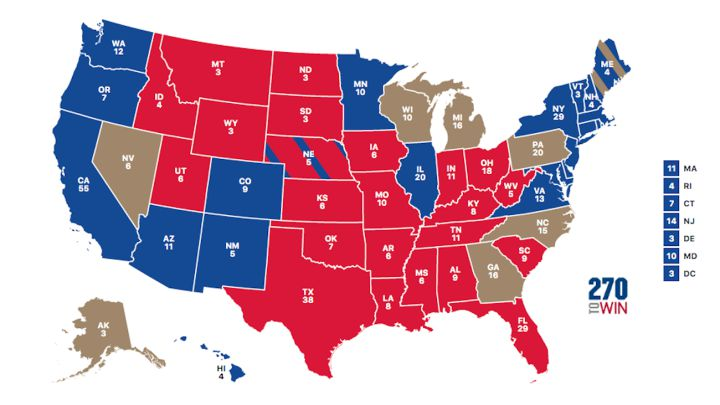 Us Map Of Electoral College Votes US presidential election 2020 results map: who won each state