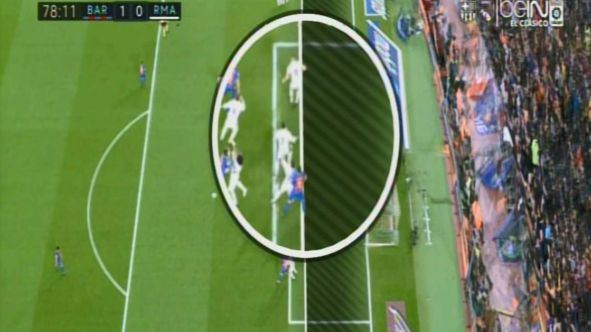 Images of the dubious offside positioning for Luis Suarez' goal - AS com