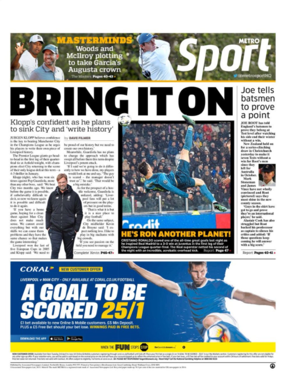 Cristiano goal graces global front and back pages - AS com